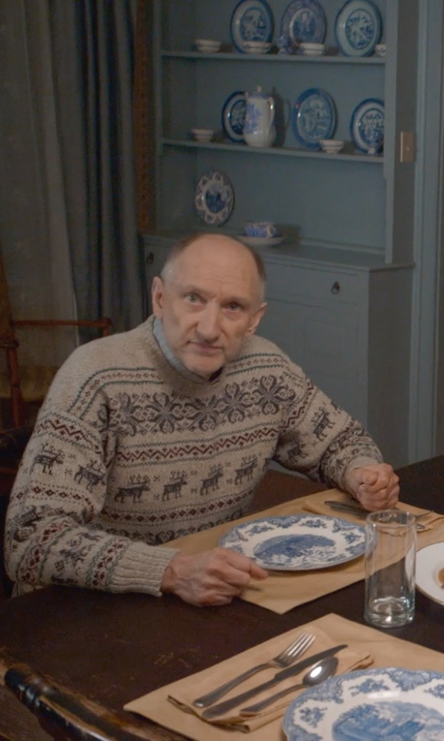 Peter McRobbie with Woolrich Ironstone Fair Isle Sweater in The Visit