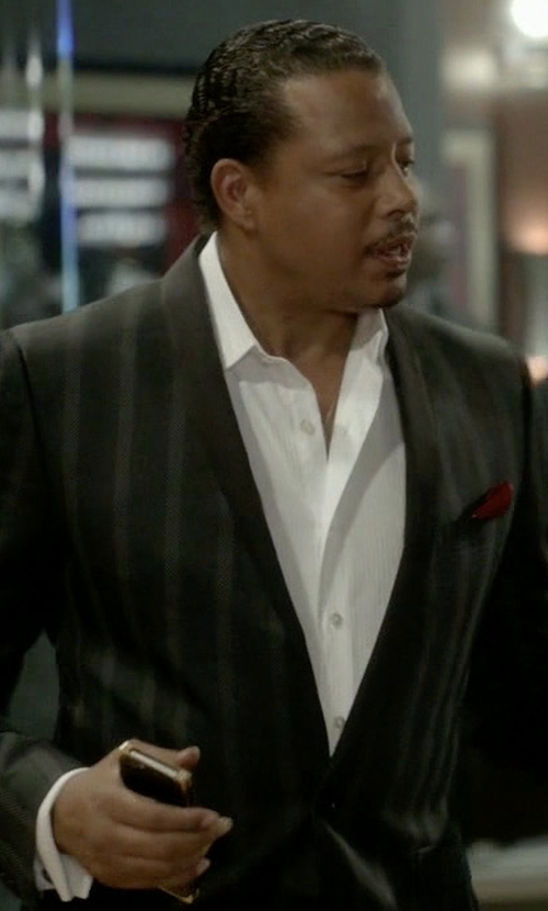 Terrence Howard  with Boss Hugo Boss Satin Shawl Collar Textured Slim Tuxedo Jacket in Empire