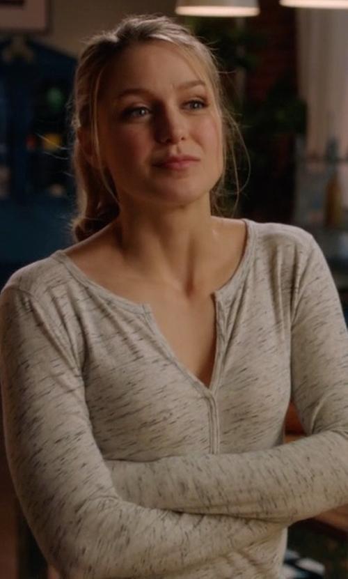 Melissa Benoist with Gap Metallic-Trim Henley Top in Supergirl