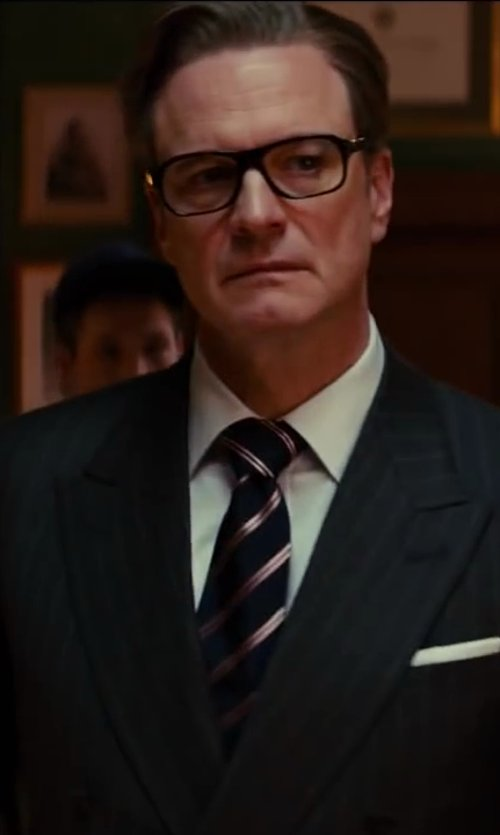 Colin Firth with Turnbull & Asser White Royal Oxford Cotton Shirt in Kingsman: The Secret Service