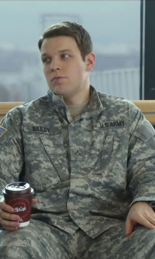 Jake Lacy with Tru-Spec Digital Camo Army Combat Uniform Jacket in Love the Coopers