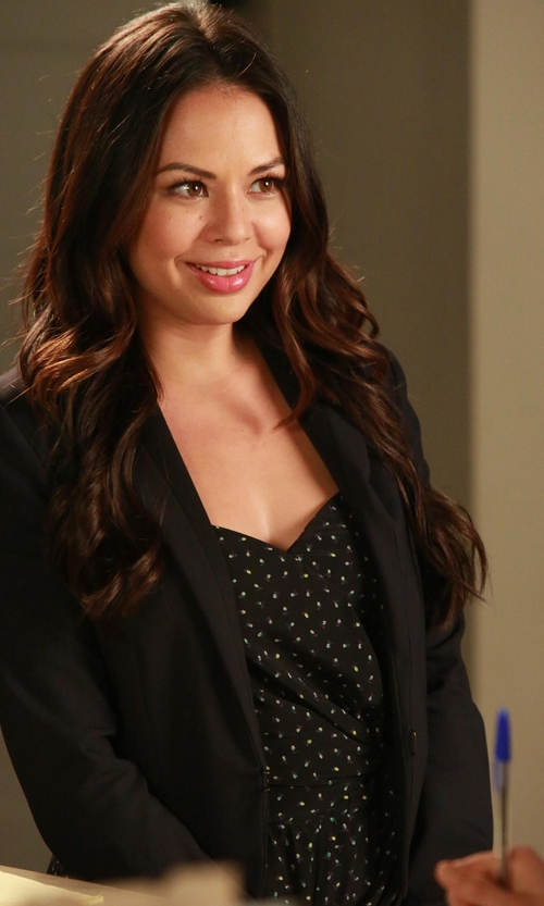 Janel Parrish with Lands' End Women's Fit and Flare Dress in Pretty Little Liars