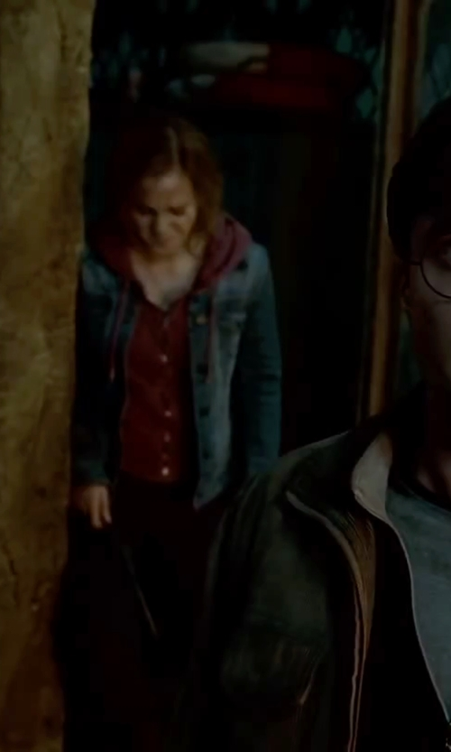Emma Watson with Topshop Zip Up Hoodie Jacket in Harry Potter and the Deathly Hallows: Part 2