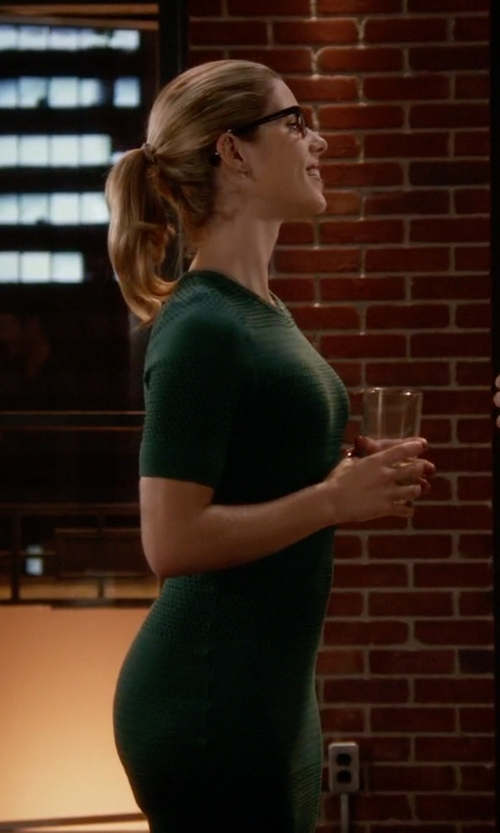 Emily Bett Rickards with Opening Ceremony French Knot Sheath Dress in The Flash