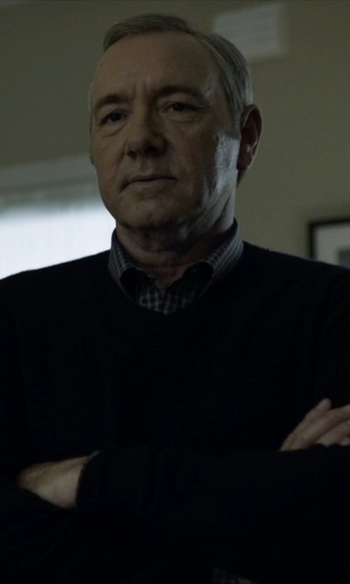 Kevin Spacey with John Smedley Marcus Crew Neck Merino Wool Sweater in House of Cards