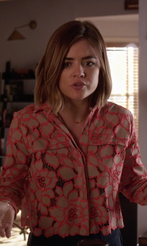Lucy Hale with Paul & Joe Sister 'Adagio' Button Down Lace Shirt in Pretty Little Liars