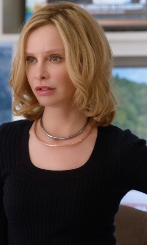 Calista Flockhart with Boss  Scoop Neck Stretch Jersey Top in Supergirl
