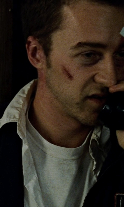 Edward Norton with Nordstrom Smartcare Trim Fit Oxford Non-Iron Sport Shirt in Fight Club