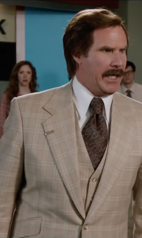 Will Ferrell with Steve Harvey Button 3 Piece Beige Men's Suit in Anchorman 2: The Legend Continues