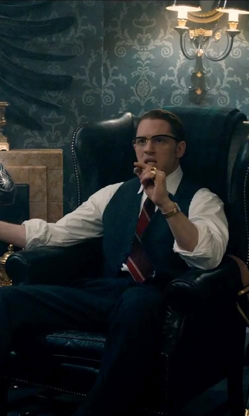 Tom Hardy with Bigi Striped Necktie in Legend