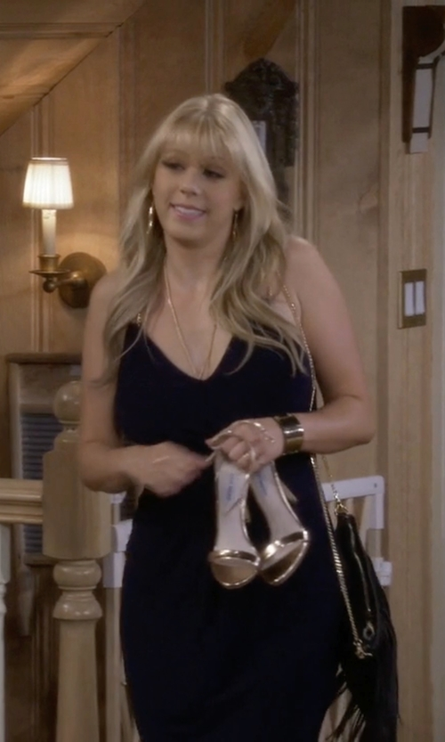 Jodie Sweetin with J.Crew Mirror Metallic High Heel Sandals in Fuller House