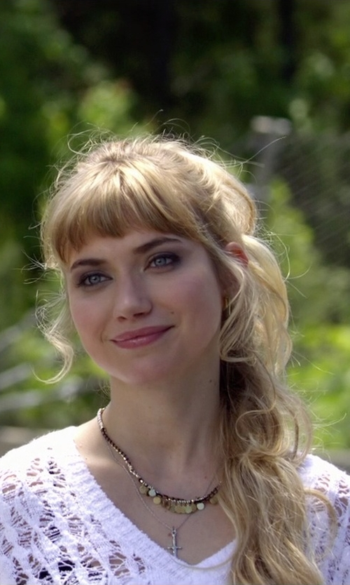 Imogen Poots with Tory Burch Logo Charm Short Necklace in Need for Speed