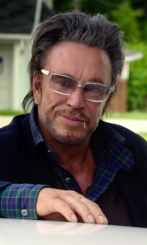 Mickey Rourke with Hartford Flannel Contrast Classic-Fit Shirt in Ashby