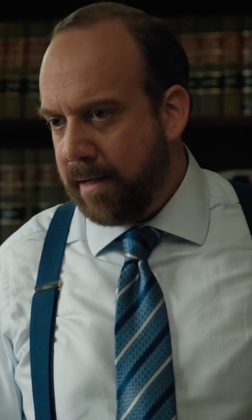 Paul Giamatti with David Donahue Stripe Silk Tie in Billions