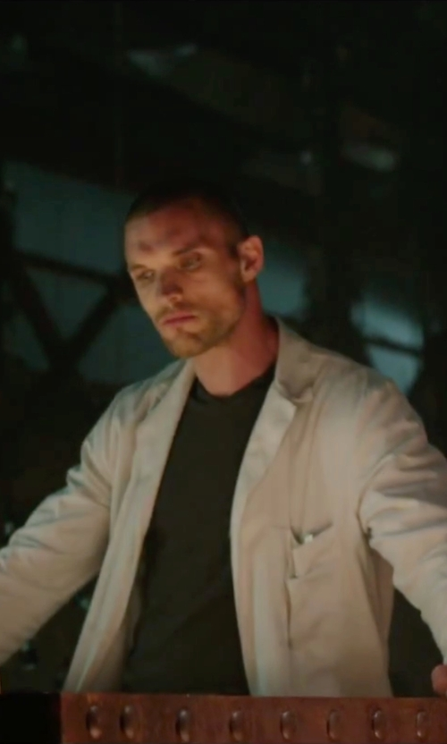 Ed Skrein with Theory Boyd Census Solid Pique Polo Shirt in Deadpool