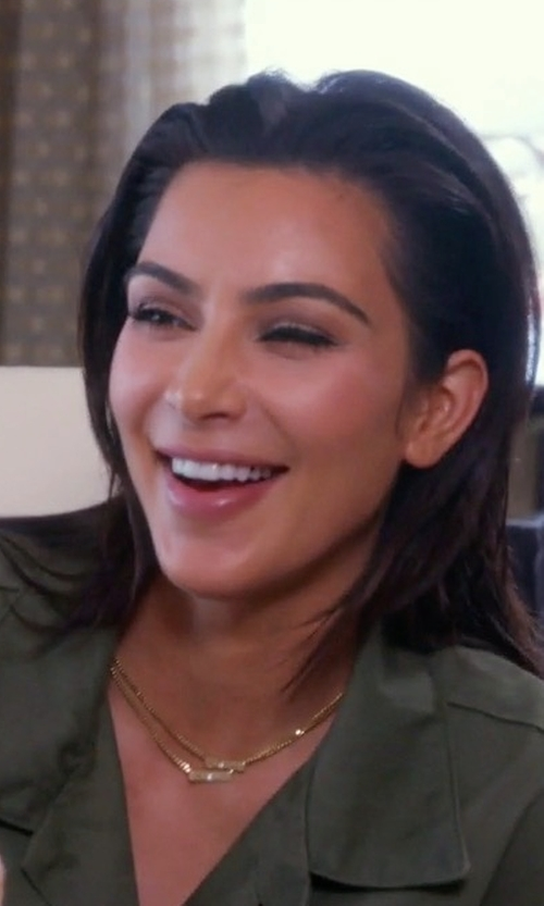 Kim Kardashian West with Personalized Boutique Custom Made Nori Raised Letter Name Bar Necklace in Keeping Up With The Kardashians