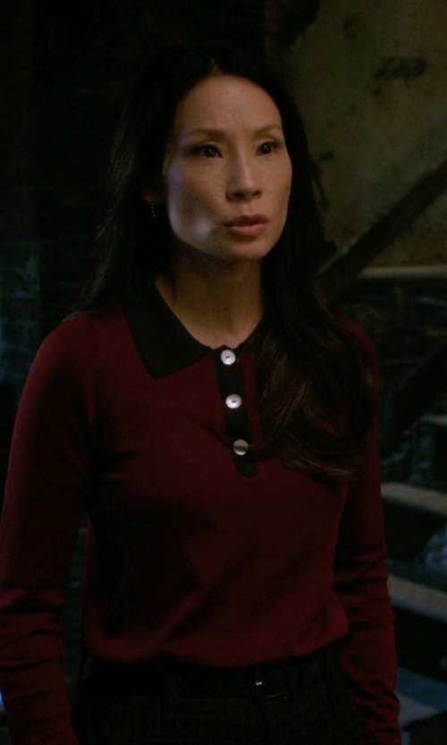 Lucy Liu with Barbour Rally Polo Shirt in Elementary
