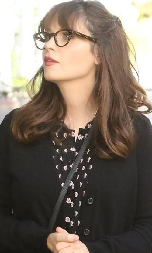 Zooey Deschanel with Kate Spade New York Ditzy Pleated Top in New Girl