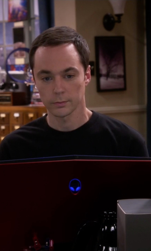 Jim Parsons with Alienware M17x Red Nebula Gaming Laptop in The Big Bang Theory