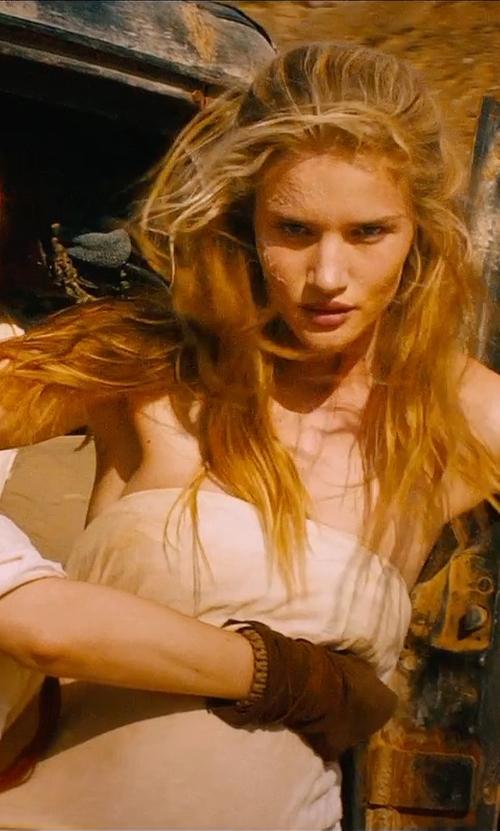 Rosie Huntington-Whiteley with Jenny Beavan (Costume Designer) Custom Made White Strapless Dress (Splendid) in Mad Max: Fury Road