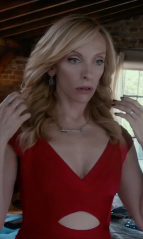 Toni Collette with BCBGMAXAZRIA Cutout Ponte Fit & Flare Dress in Miss You Already