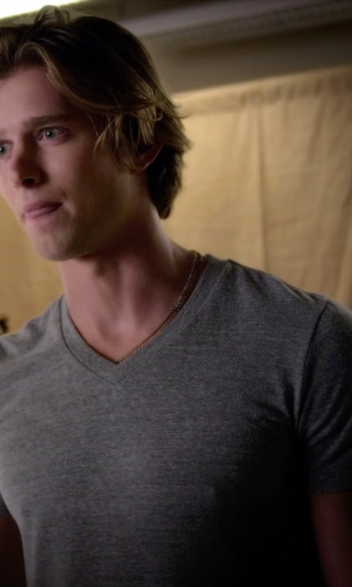 Drew Van Acker with Vince Short Sleeve V-Neck Tee in Pretty Little Liars