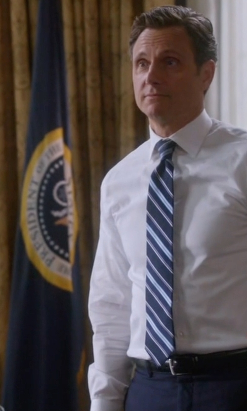 Tony Goldwyn with Gucci Striped Silk-Twill Tie in Scandal
