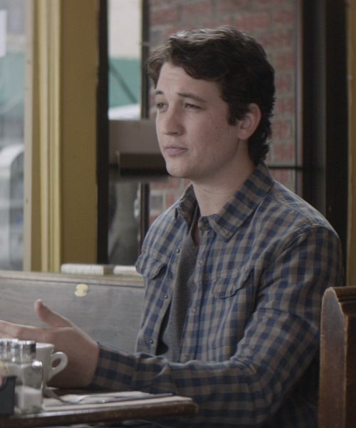 Miles Teller with J.Crew Buffalo Checked Wool-Blend Overshirt in That Awkward Moment