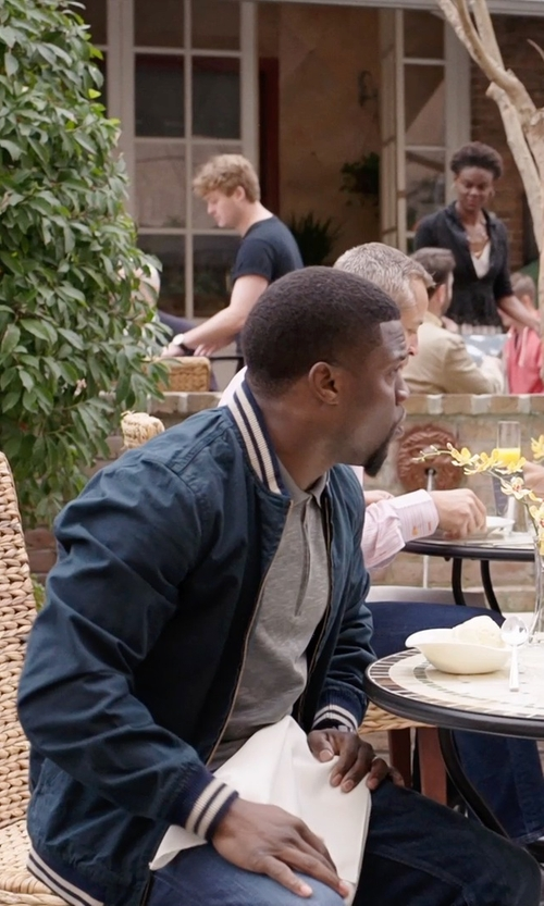 Kevin Hart with J.CREW Wallace & Barnes Baseball Bomber Jacket in Japanese Cotton in Get Hard