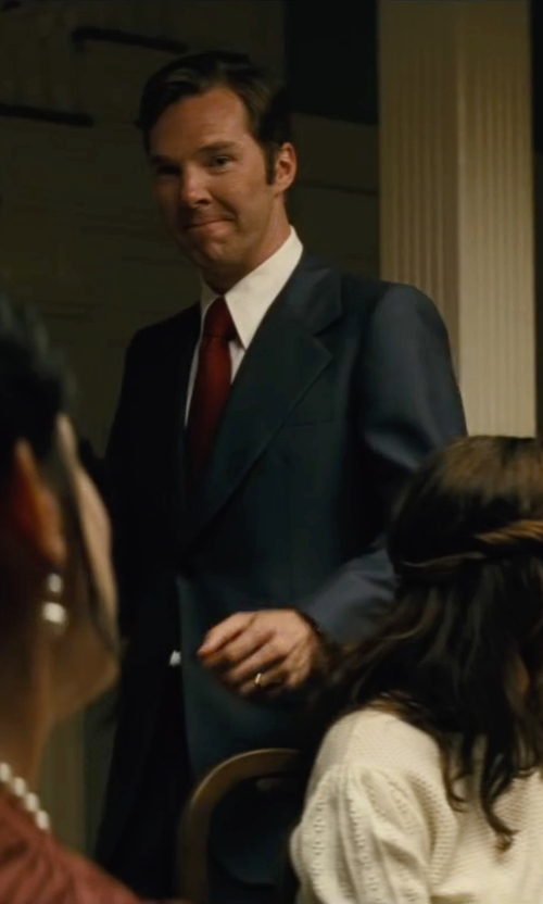 Benedict Cumberbatch with Lanvin Solid Satin Tie in Black Mass