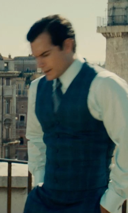 Henry Cavill with Brioni Wingtip Print Silk Tie in The Man from U.N.C.L.E.