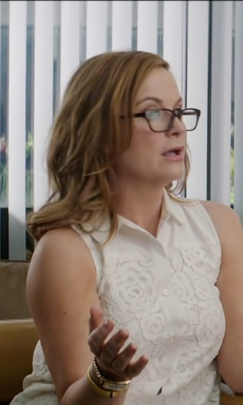 Amy Poehler with Rebecca Taylor Medallion Lace Sleeveless Cotton Poplin Top in The House
