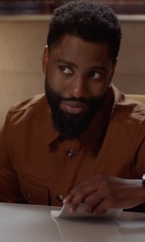 John David Washington with Saint Laurent Long-Sleeve Western-Style Shirt in Ballers