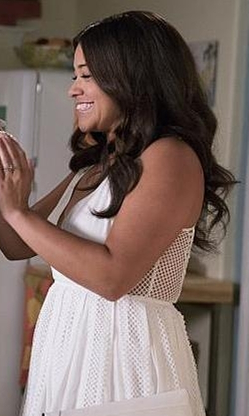 Gina Rodriguez with Diane von Furstenberg Tiana Sleeveless Lace Flounce Dress in Jane the Virgin