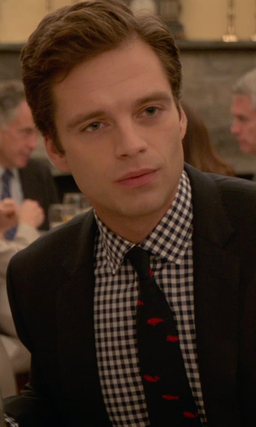 Sebastian Stan with Moschino No Smoking Print Silk Jacquard Tie in Ricki and the Flash