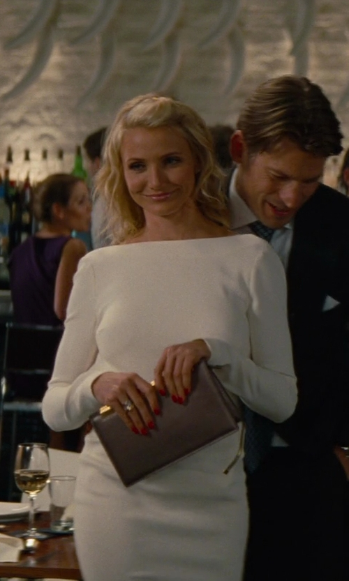 Cameron Diaz with Tom Ford Zip Detail White Pencil Dress in The Other Woman