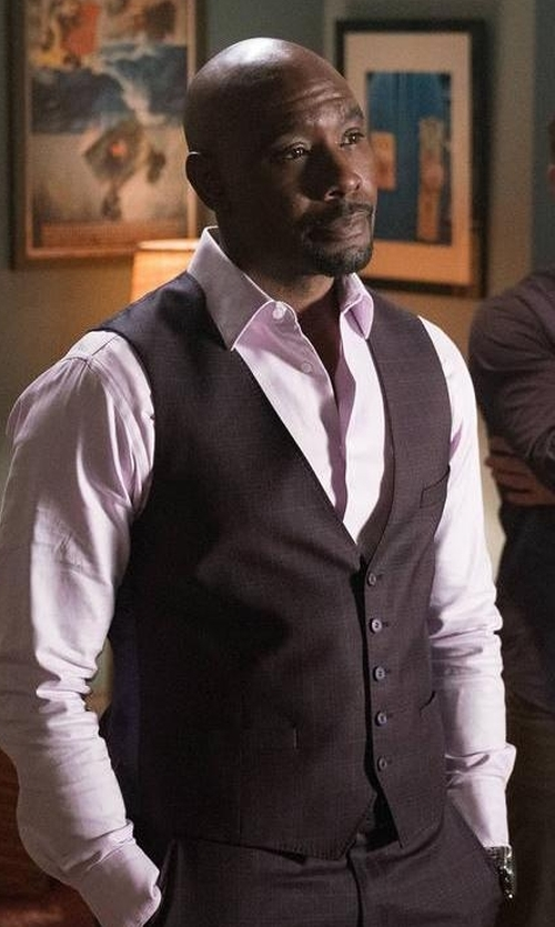 Morris Chestnut with Carrot & Gibbs Pindot Five-Button Vest in Rosewood