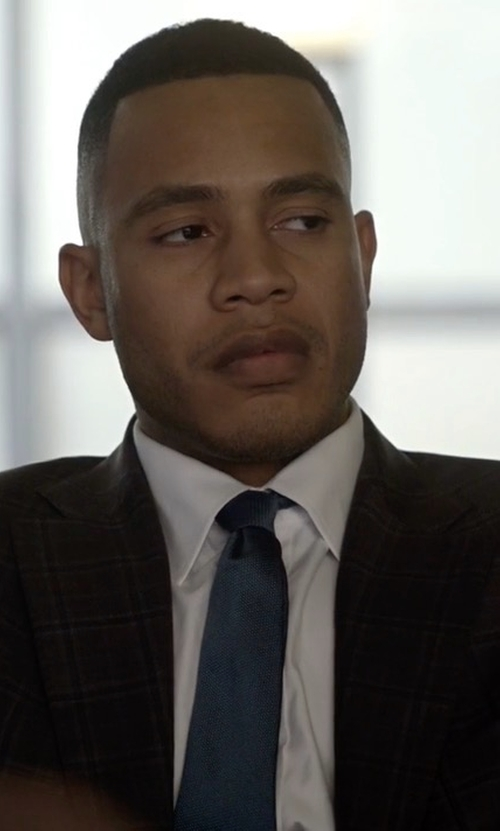 Trai Byers with Isaia Raised Boucle Plaid Wool Suit in Empire