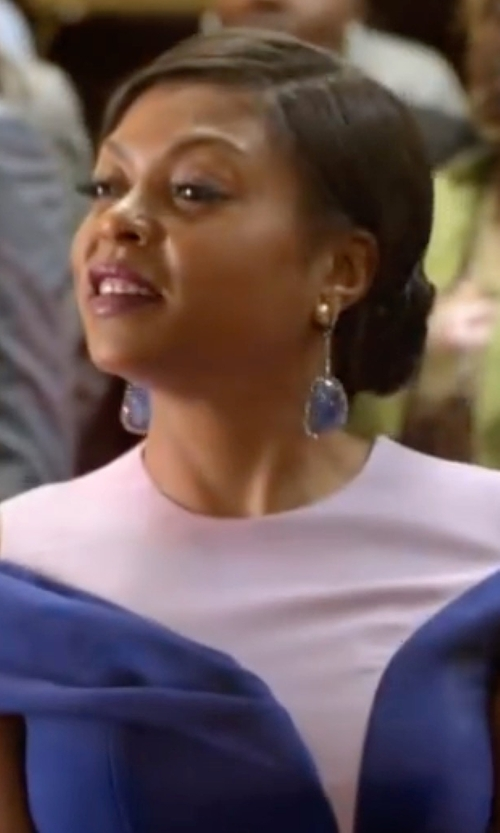 Taraji P. Henson with Nest Lapis Lazuli & Pyrite Drop Earrings in Empire