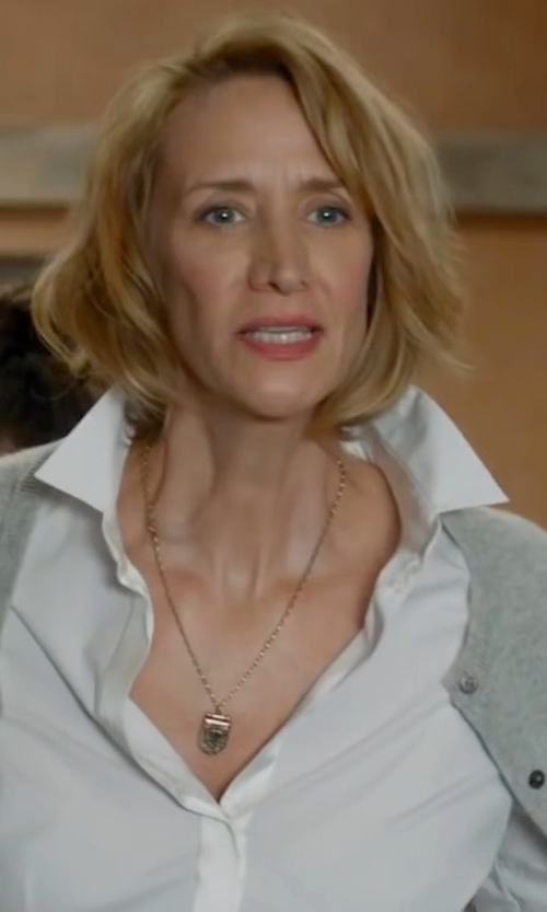 Janet McTeer with John Lewis Crew Neck Cashmere Cardigan in Me Before You