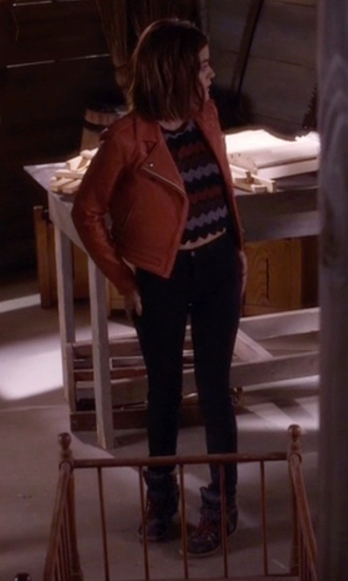 Lucy Hale with Isabel Marant Buck Leather Wedge Sneakers in Pretty Little Liars