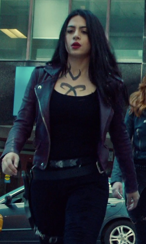 Emeraude Toubia with Iro Ashville Cropped Leather Jacket in Shadowhunters