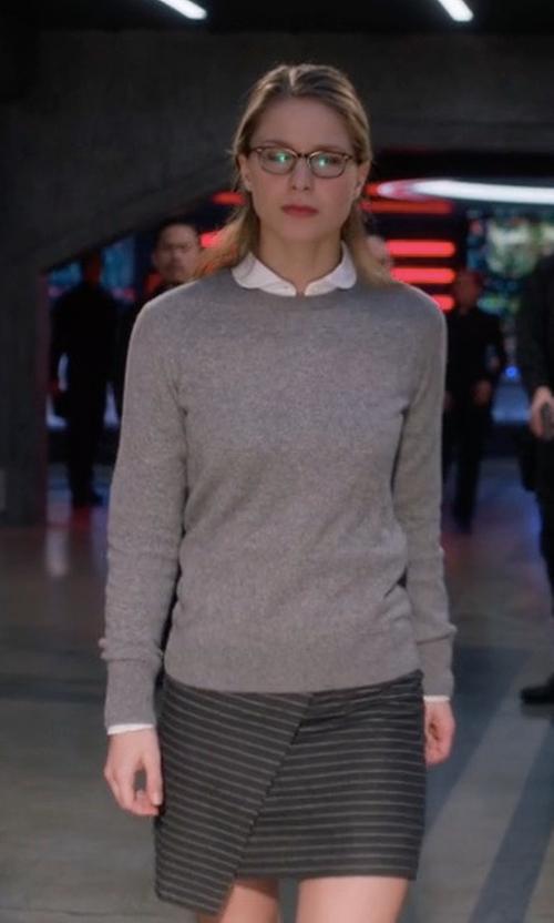 Melissa Benoist with Madewell Asymmetrical Pinstripe Mini Skirt in Supergirl