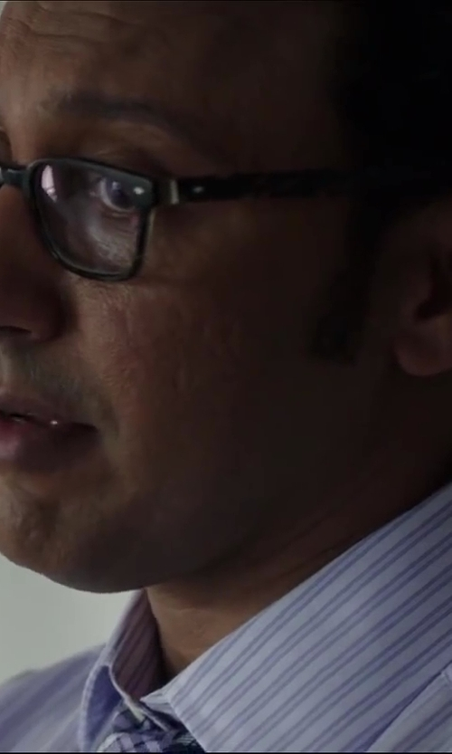Aasif Mandvi with HUGO BOSS Pastel Blue And White Striped Cotton Dress Shirt in Million Dollar Arm