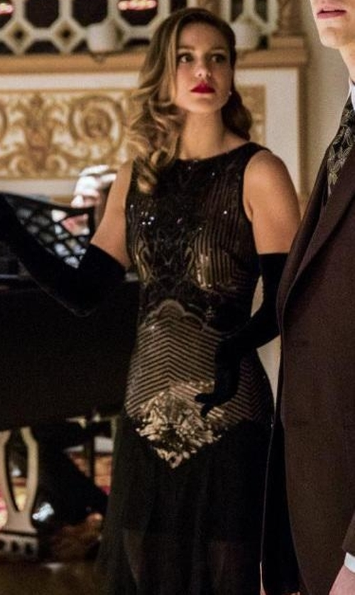 Melissa Benoist with BCBGMaxazria Magdalena Sequined Gown in The Flash