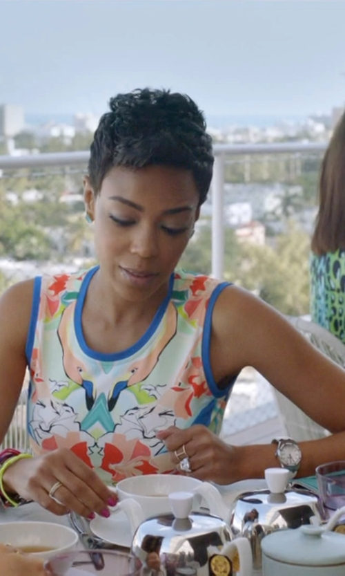 Jazmyn Simon with Elizabeth And James Kiki White Topaz Double-Band Ring in Ballers