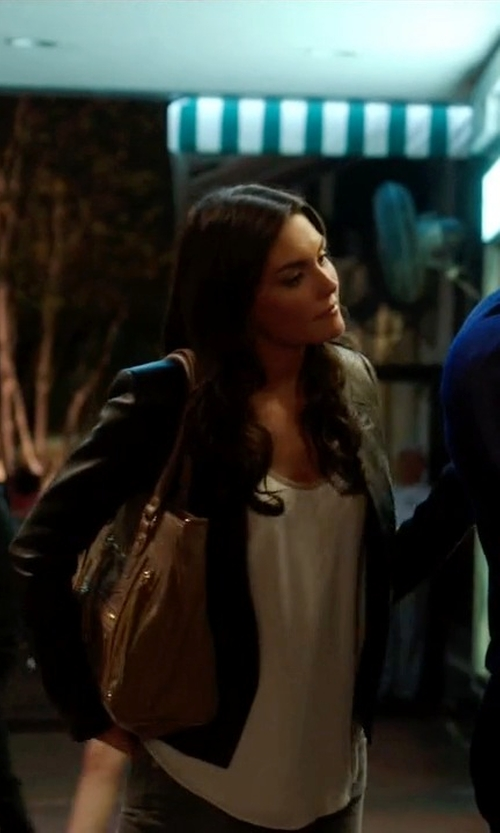Taylor Cole with Halston Heritage Leather Blazer in Ballers