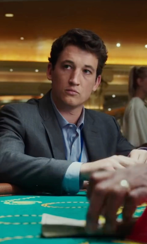 Miles Teller with Saks Fifth Avenue Slim-Fit Textured Wool Sport Coat in War Dogs