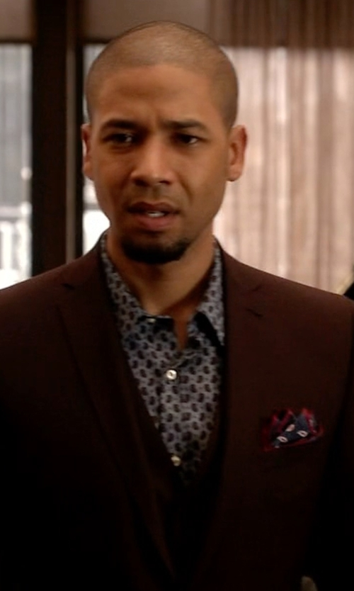Jussie Smollett with Barneys New York Paisley Oxford Cloth Shirt in Empire