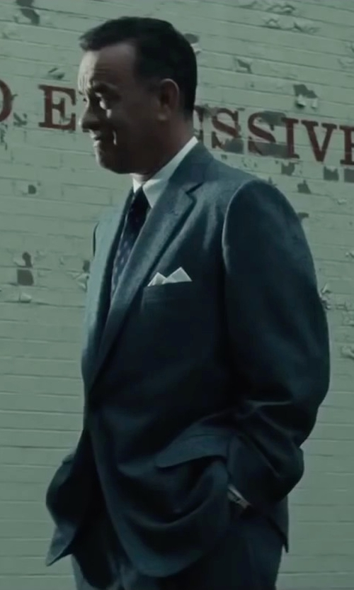 Tom Hanks with John Varvatos Collection Slim Solid Point Shirt in Bridge of Spies